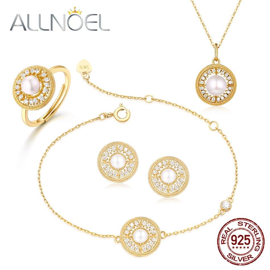 ALLNOEL 2019 New 925 Sterling Silver Jewelry Sets For Women Ring Earrings Pendants Necklace Bracelet Gemstone