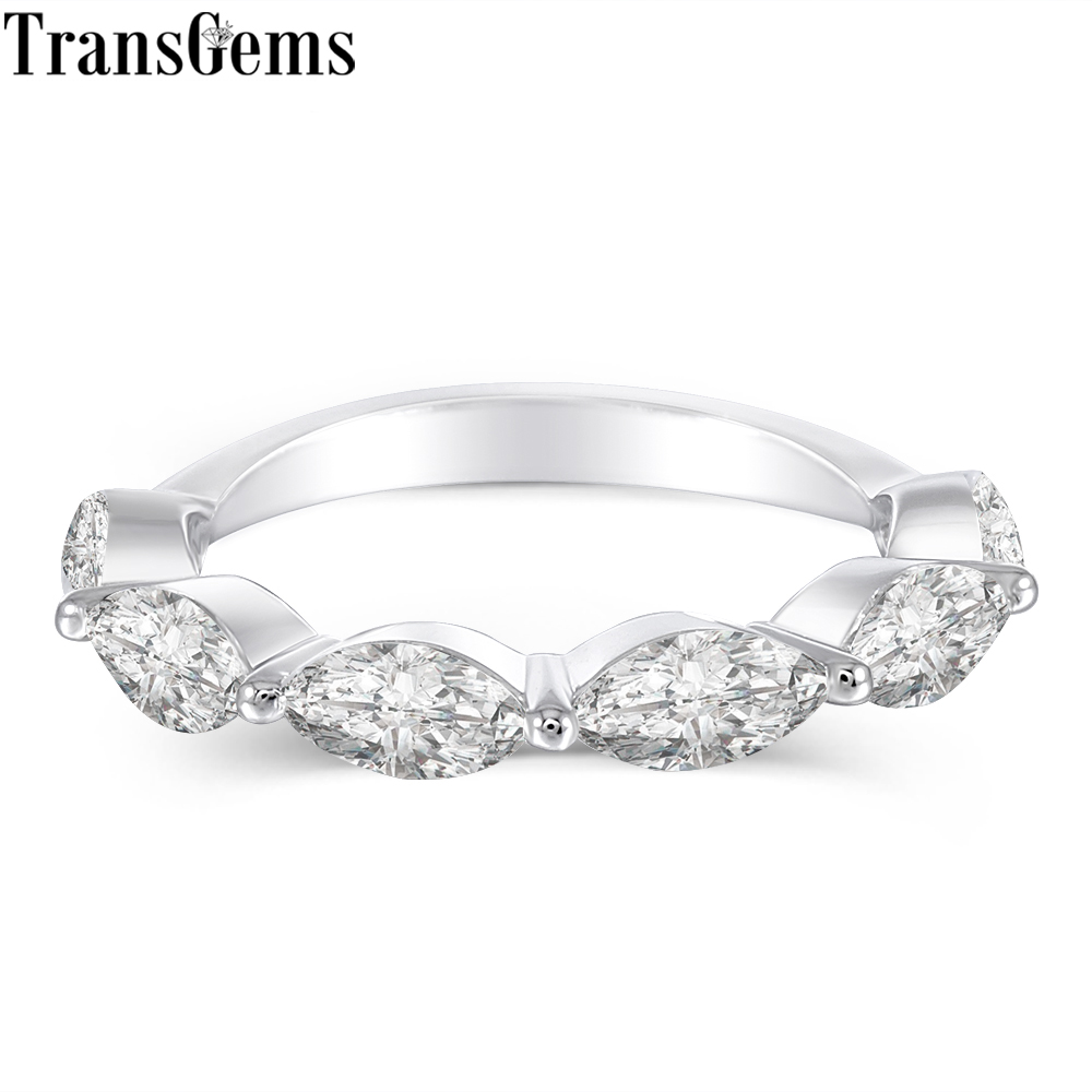 TransGems 14 K Oro Bianco 3X6 MM Marquise Taglio F Colore Moissanite Mezza Etrenity Fascia di Cerimonia Nuziale per Le Donne regalo di nozze