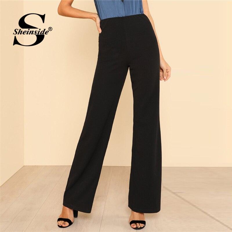 Sheinside czarne proste spodnie z wysokim stanem letnie szerokie nogawki w pasie spodnie robocze damskie biurowa, damska jednokolorowe spodnieSpodnie i spodnie capri   -