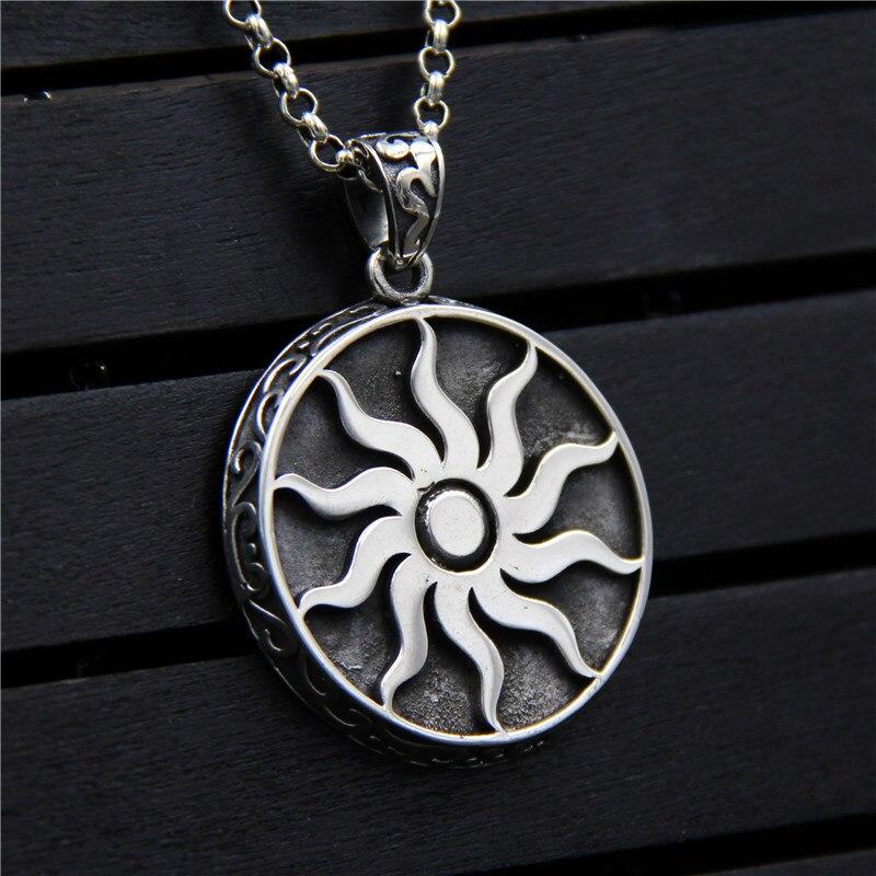 C & R Real 925 pendentif en argent Sterling collier pour femmes hommes Vintage personnalité soleil Totem étiquette ronde bijoux fins