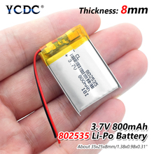 цены 1/2/4pcs High Quality 3.7V 802535 800mAh Li-ion Polymer Lithium Battery 3.7 Volt Lithium Ion Li-po Li-polymer Batteries Cells
