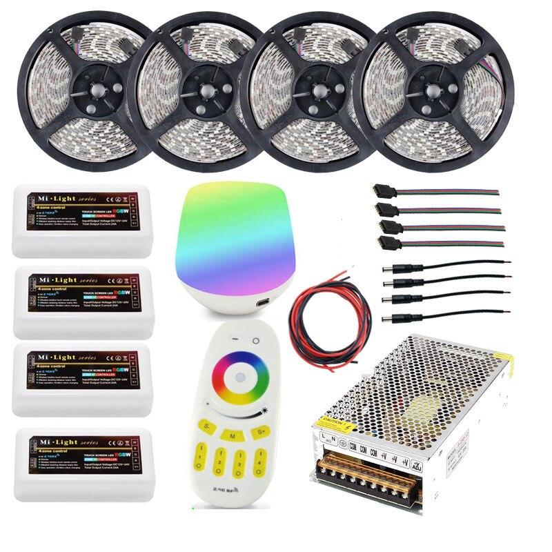 Wifi 20 m Km bande de lumières LED Ruban RGBW RVB 5050 12 V Étanche + 4 pièces Contrôleur + 4 Zones RF Télécommande + adaptateur secteur livraison gratuite