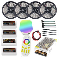 Wifi 20m Mi light led strip Ribbon RGBW RGB 5050 12V Waterproof + 4pcs Controller +4 Zone RF Remote + Power adapter Free shiping
