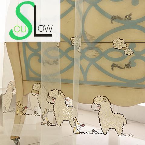 trage soul wit cartoon konijn schapen geborduurde gordijn slaapkamer gordijnen tulle voor woonkamer keuken sheer baby kinderen kids in trage soul wit