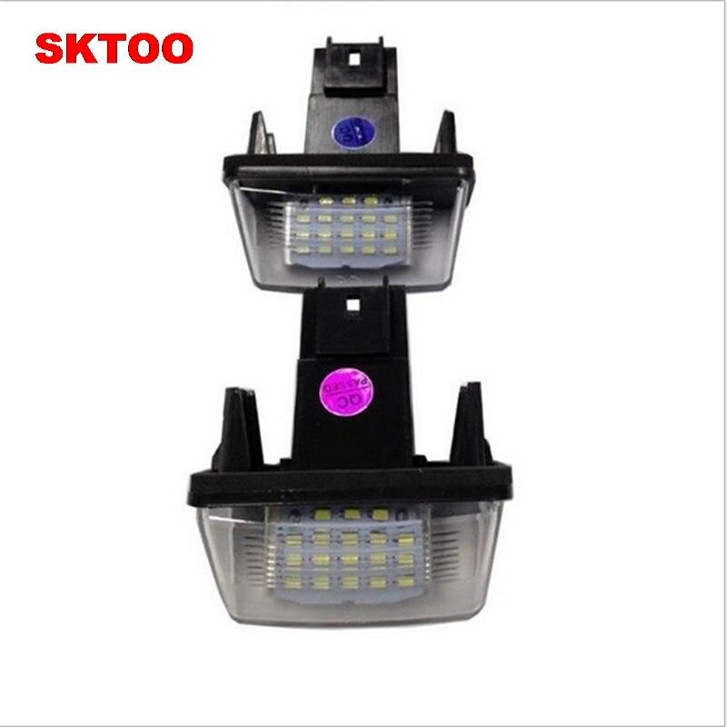 SKTOO LED Number License Plate Lamp OBC Error Free 18 LED For Peugeot 206 207 307 308 406 5008 Citroen C3 C4 C5 C6 Berlingo SAXO