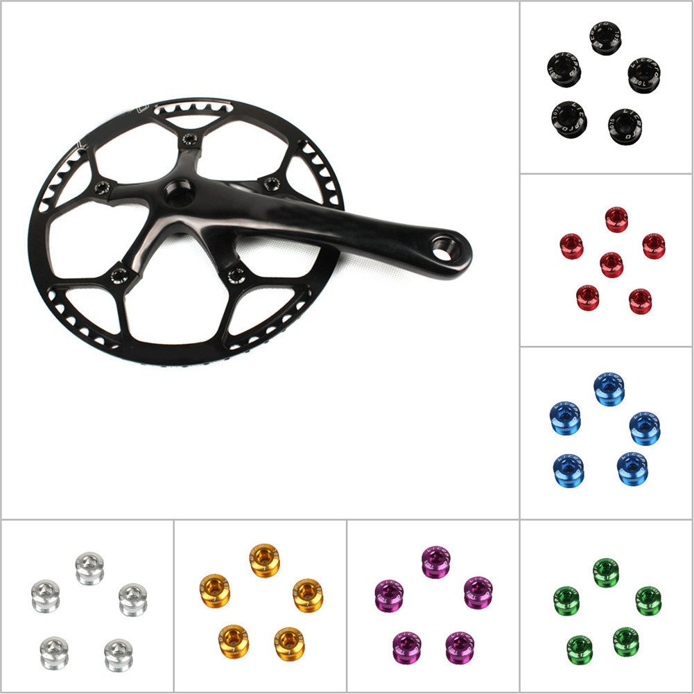 New Ultralight 7075 Alloy Bike Bicycle Double Chainring Bolts Crank Set Green