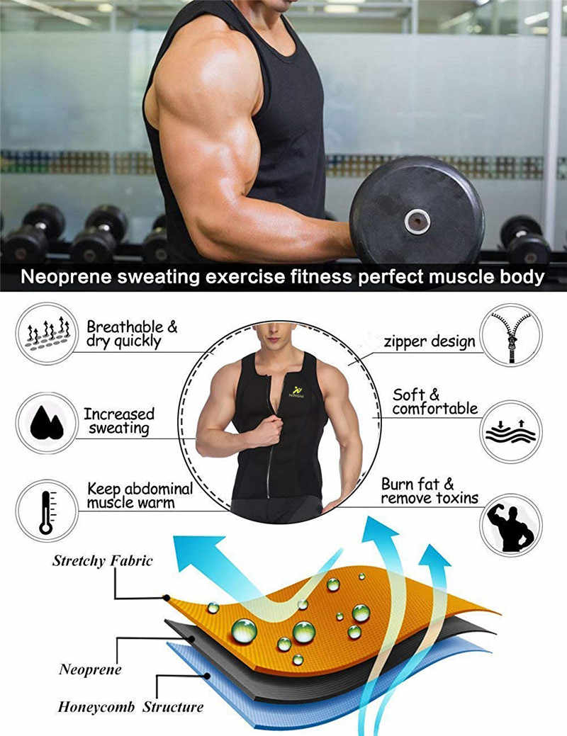 ba220019c4d ... NINGMI Mens Slimming Vest HOT Shirt Fitness Weight Loss Sweat Sauna  Suit Waist Trainer Body Shaper ...