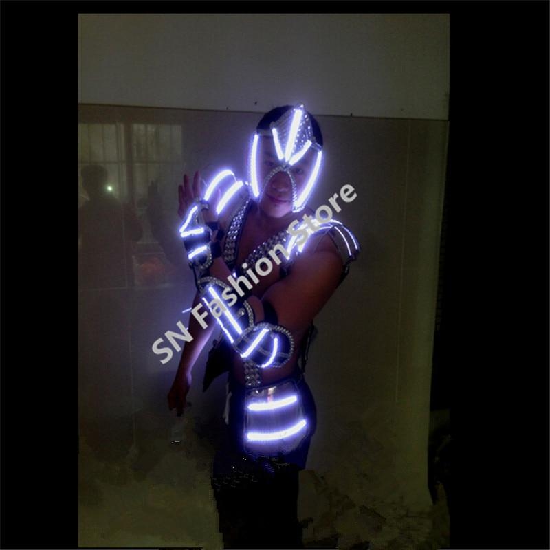 LL05 화이트 컬러 망 LED 조명 춤 무도 회장 의상 정장 빛나는 옷 바 가수 파티 디스코 무대 소품