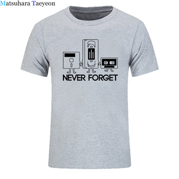 Fashion New t shirt Men Short Sleeve Never Forget Floppy Disc VHS Cassette Tech Geek Print T Shirts Male Undershirts Tshirts
