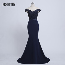 BEPEITHY 2017 Robe De Soiree Mermaid Navy Blue Belt Evening Dress Long Party Elegant Vestido De Festa Off The Shoulder Prom Gown