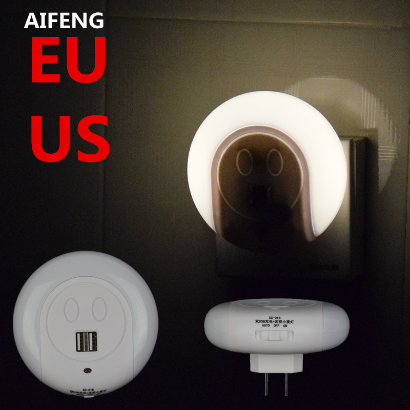 AIFENG Design LED Night Light with Light Sensor and Dual USB Wall Plate Charger Perfect for Bathrooms Bedrooms EU/US Plug brelong creative light switch sensor led night light with dual usb 5v wall board charger mobile phone night light eu us 110 240v
