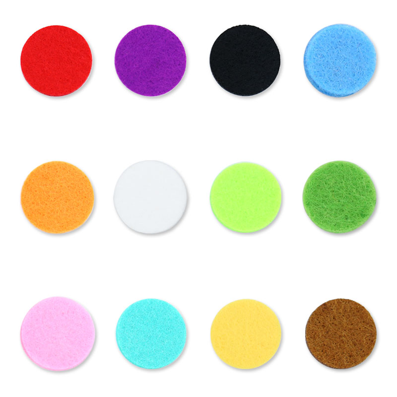 (100pcs/ lot) 13mm Colorful Perfume Felt Washable Pads For 20mm Stainless Steel Essential Oil Locket Diffuser Locket