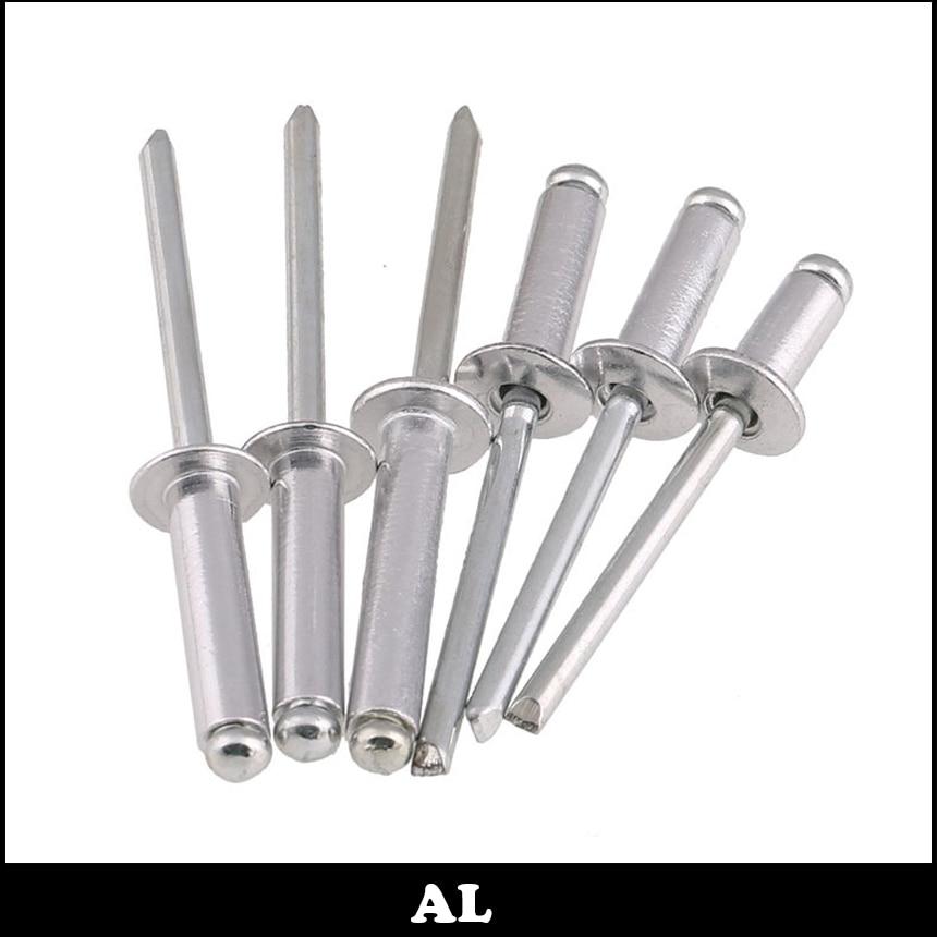 M4 M4*8 M4x8 M4*10 M4x10 M4*12 M4x12 Aluminum AL DIN7337 Self-Plugging Pull Nail POP Decoration Round Flat Head Blind Rivet стоимость