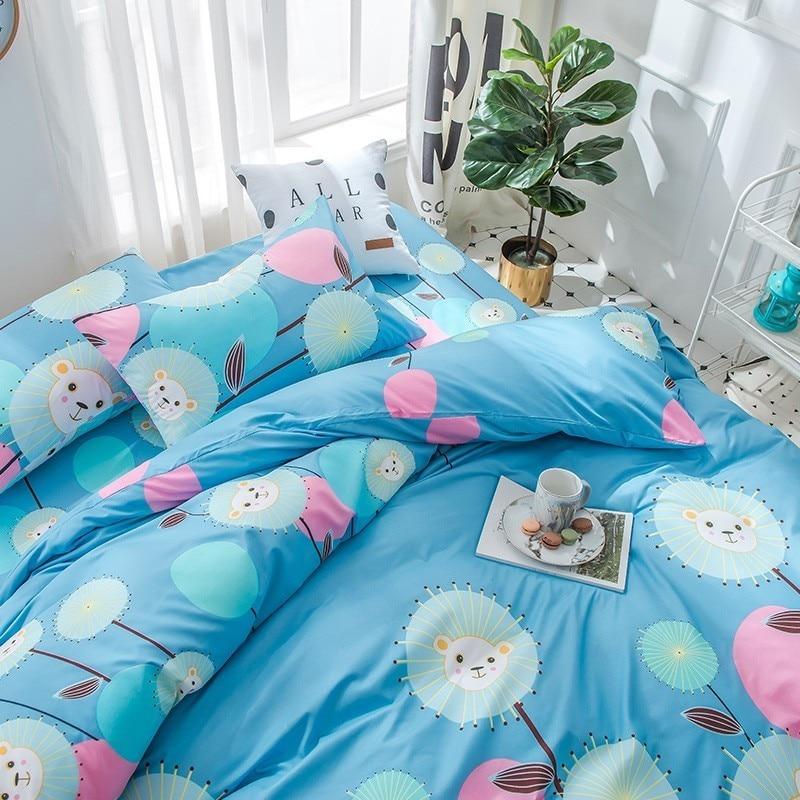 Solstice Home Textile Blue Duvet Cover Pillowcase Bed Sheet Boy Kid Bedding Set King Full Twin Girl Teen Linen 3-4Pcs Bedclothes