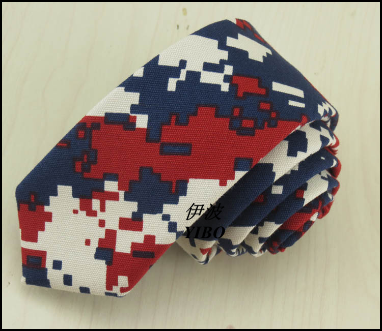 Navy, red, white three color watercolor geometrical design high quality han edition handsome mens narrow tie new product