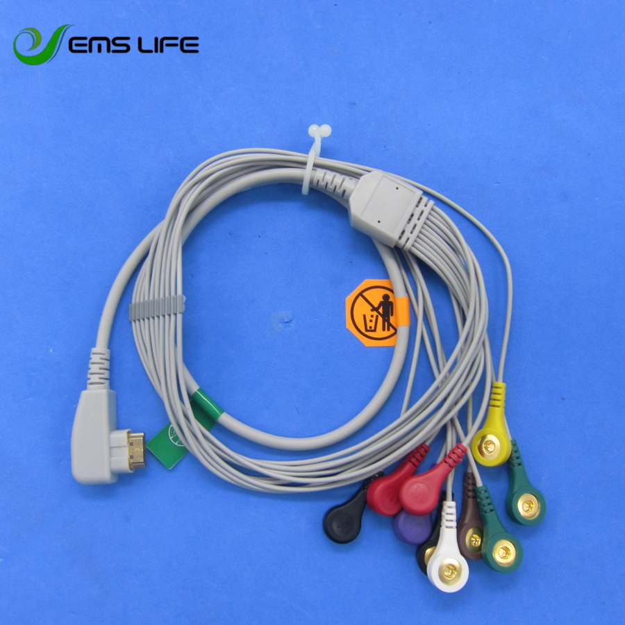 2018 Wholesale DMS Holter ECG Cable 10 Leads Snap