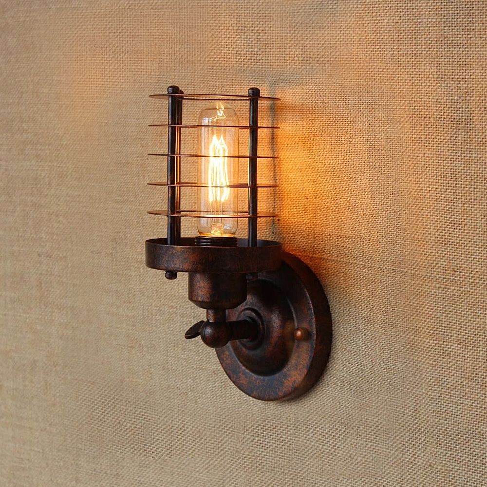 Vintage Industrial Wall Light,Rust Wall Lamp,светильник бра,Loft wall sconce Light Fixture,180°Adjustment,lampshade Up and downLED Indoor Wall Lamps   -