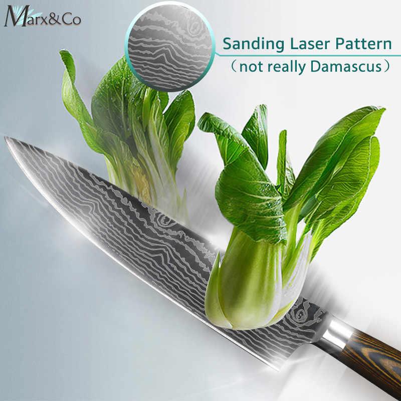Faca do Chef de cozinha Facas 8 polegada Japonês 7CR17 440C Alto Carbono Aço Inoxidável Lixar A Laser Padrão Vegetal Faca Santoku