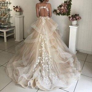Image 2 - חתונה שמלות לבנון טול אפליקציות שמפניה פרע אורגנזה תפור לפי מידה נפוחה שמלת כלה בתוספת גודל שמלת כלה
