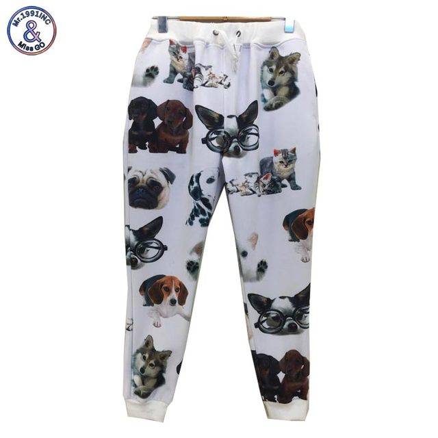Mr.1991INC HOT! new women/men 3d pants casual dog printed cat 3D Elastic Waist Long trousers size s-xl p11