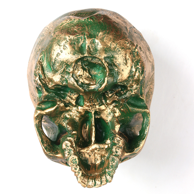 Bronze Human Skull Resin Craft Home Decor Imitation Skull