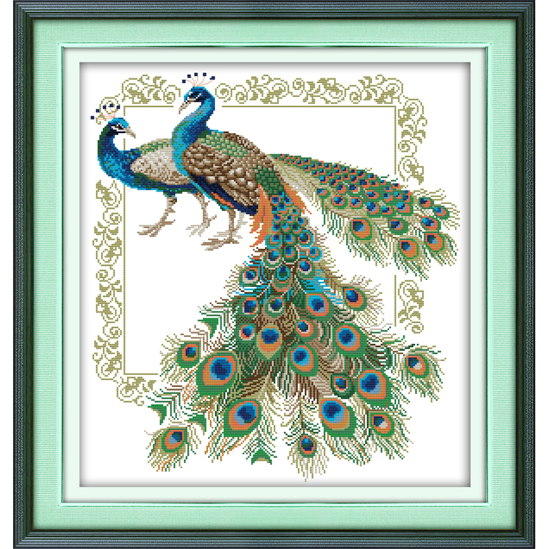 Everlasting love Lucky peacocks Chinese cross stitch kits stamped printed product 11 14CT DIY New year gift decorations for home