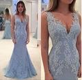 Elegant V Neck Lace Applique Long Mermaid  Evening  Dresses Ruffle Prom Dreeses Custom Made Vestido De Festa Robe De Soiree
