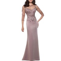 Mermaid Mother Of The Bride Dress With Sleeves See Through Wedding Party Gowns Vestido De Madrinha Robe Mere De Mariee