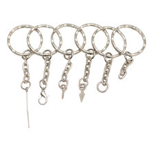 20pcs Silver Color 25mm Keyring ripple Keychain Short Chain Split Ring  DIY lobster clasp Key Chains Accessories