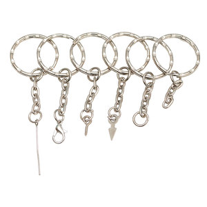 20pcs Silver Color 25mm Keyring ripple Keychain Short Chain Split Ring DIY lobster clasp Key Chains Accessories(China)