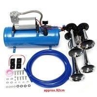 4 pcs Chrome Trumpet Vehicle Air Horn 12V Compressor Tubing 150 dB Train 120 PSI Kit 6L for Car Truck Campers