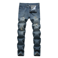 Men Jeans Stretch Destroyed Ripped Design Skinny Ripped Jeans Men's Wear White Blue Hole Jeans Korean Style Retro Jeans