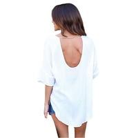 Liva Girl Autumn Loose White Tops Open Back Chiffon T Shirt Women Half Sleeve Casual Blouse
