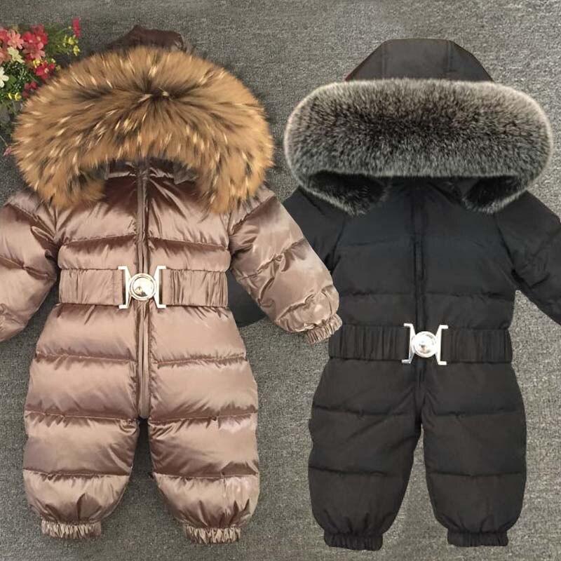 2019 salopette chaude pour enfants vraie capuche de fourrure garçons barboteuses coupe-vent enfants filles combinaisons Onesie canard vers le bas bébé combinaisons de neige