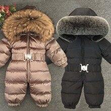 2020 ciepłe kombinezony dla dzieci futro z kapturem chłopcy dół pajacyki zimowe dla dzieci dziewczyny kombinezony z długim rękawem Unisex Onesie Baby Snowsuit