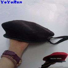 e2fcd20f8e659 YOYORan 1PC man 100% wool military beret Black red navy wool solid color  army soldier