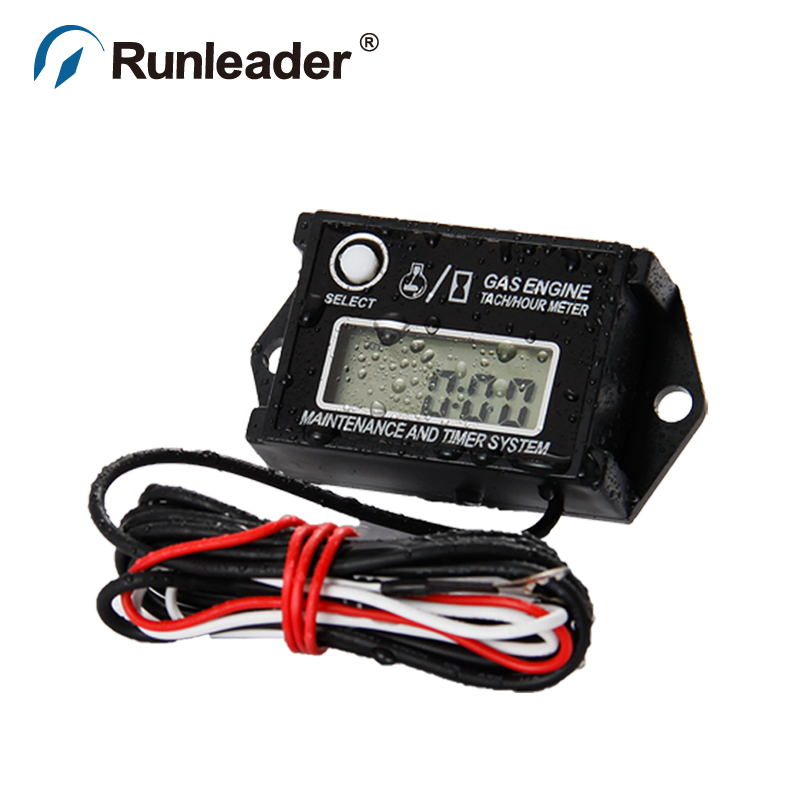 Runleader HM026A Autocross Resettable Hour Counter/Tachometer for Go Kart Pit Bike Snowmobile Paramotor go-kart