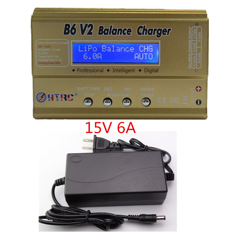 LiPo Battery Charger Balance Discharger HTRC B6V2 80W 6A 1-6S DC11-18V for Li-ion LiFe NiCd NiMH LiHV PB Smart Battery