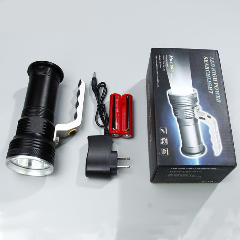 LED Flashlight Rechargeable Powerful Mini Long Range 500M Search Light Torch 2000 Lumens Light+18650 Battery +Charger