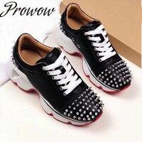 Prowow/брендовая дизайнерская обувь из натуральной кожи с шипами; Летняя обувь на плоской подошве со шнуровкой; повседневная женская обувь