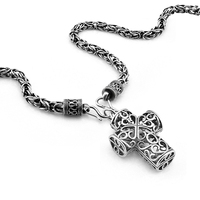 Retro Thai silver cross pendant Necklace 925 sterling silver Religious jewelry viking scandinavian norse viking necklace Men