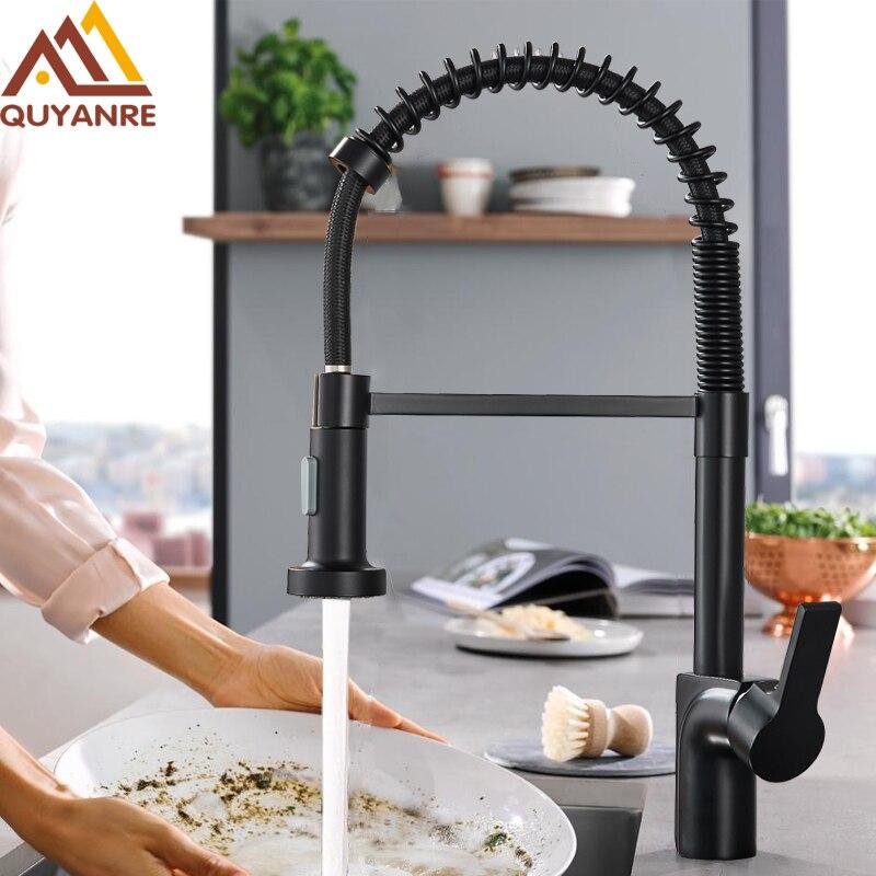 купить Quyanre Matte Black Nickel Pull Out Spring Kitchen Faucet Single Handle Mixer Tap 360 Rotation Hot Cold Mixer Kitchen Tap Mixer по цене 4060.87 рублей