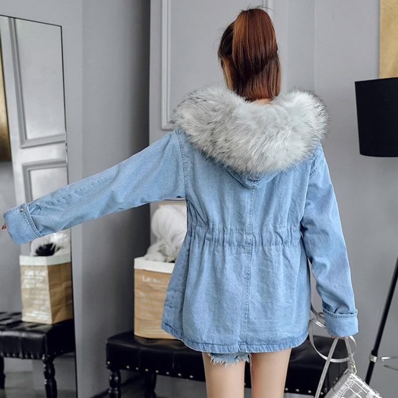 Avec Bleu Denim Pour Mode 2018 Automne De Manteau Femmes Dames Chaud Fourrure S Dd1731 Hiver 1 Veste Jeans Faux 55rqn4A