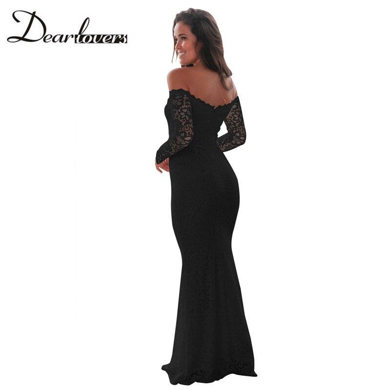 7098578b4eb Dear lovers White Crochet Lace Maxi Dress Autumn Long Sleeve Off Shoulder  Retro Lace Dress LC61847 Elegant Floor Length Dresses-in Dresses from  Women s ...