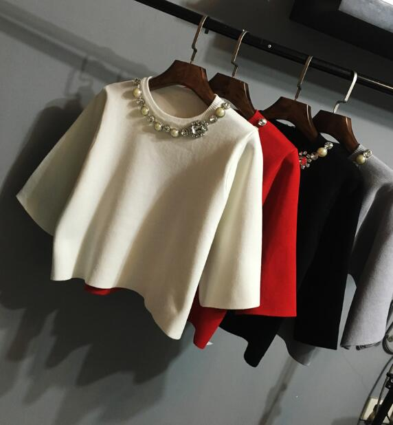 Qualité nouveau printemps petit doux solide couleur perle col rond haut tricot manteau mode chandail blanc | noir