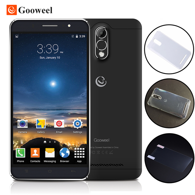 Gooweel M3 Smartphone 6.0 inch IPS screen MTK6580 quad core Mobile phone 8MP Camera GPS 1GB RAM 8GB ROM 3G Cell phone Free Case
