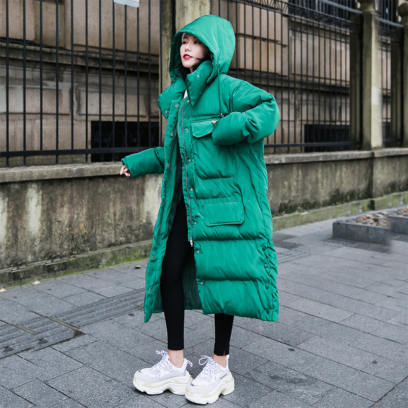Long  Parkas Women Winter Warm Cotton Jacket Hooded Loose Casual Coats Female Outerwear Solid color 2019 New Coats AN026(China)