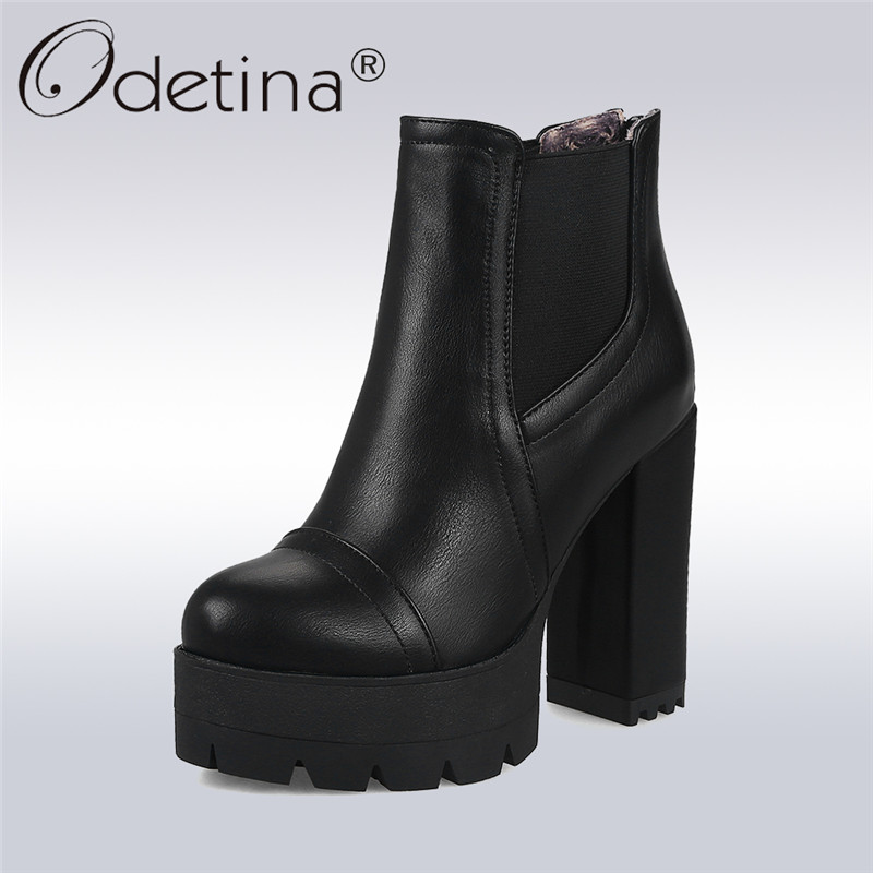 Odetina 2017 New Fashion Super High Heel Ankle Boots Platform Square Heel Back Zipper Sexy Autumn Winter Shoes Big Size 32-43 high back big
