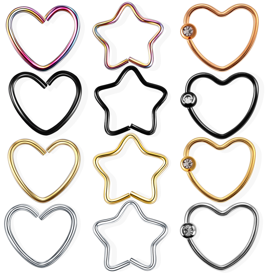 4pcs/lot Steel Daith Heart Star Rings CZ Gem Cartilage Tragus Piercings Nose Hoop Rings Labret Ring Daith Piercing Jewelry