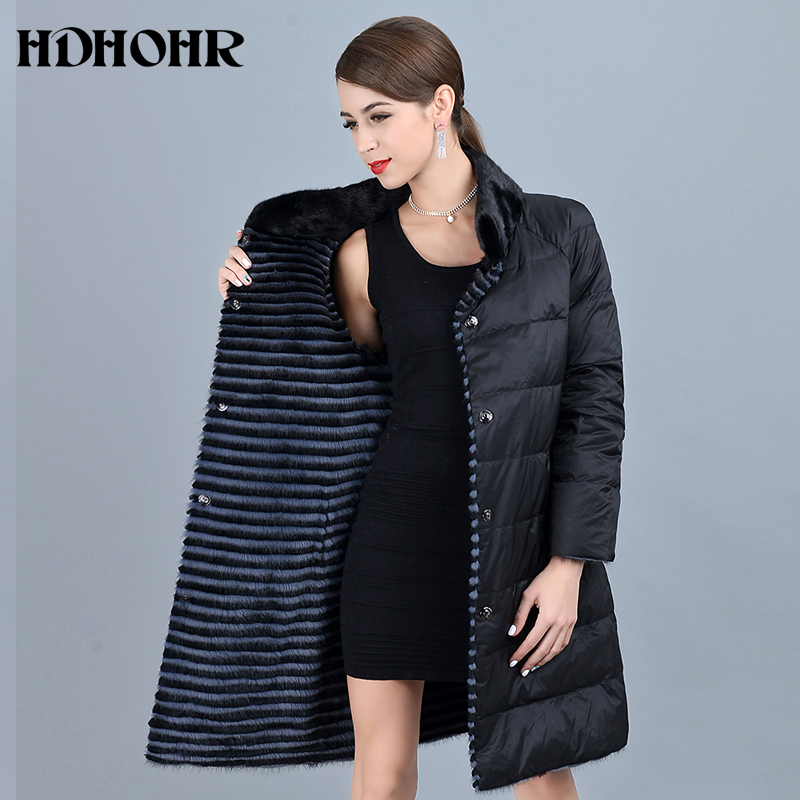HDHOHR 2019 New Women's Real Mink Fur Coat With Down Double Side Wear Jacket Warm  Genuine Leather Strip Long  Jackes For Female